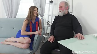 Lusty Czech gal Sarah Kay lures bearded old man of steamy lovemaking